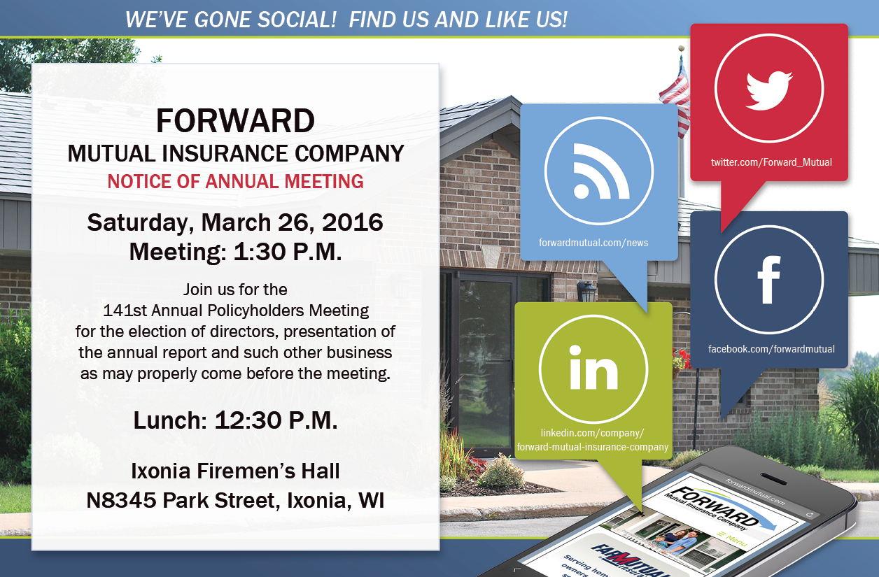 Save-the-date for Forward Mutual's Annual Policyholders Meeting