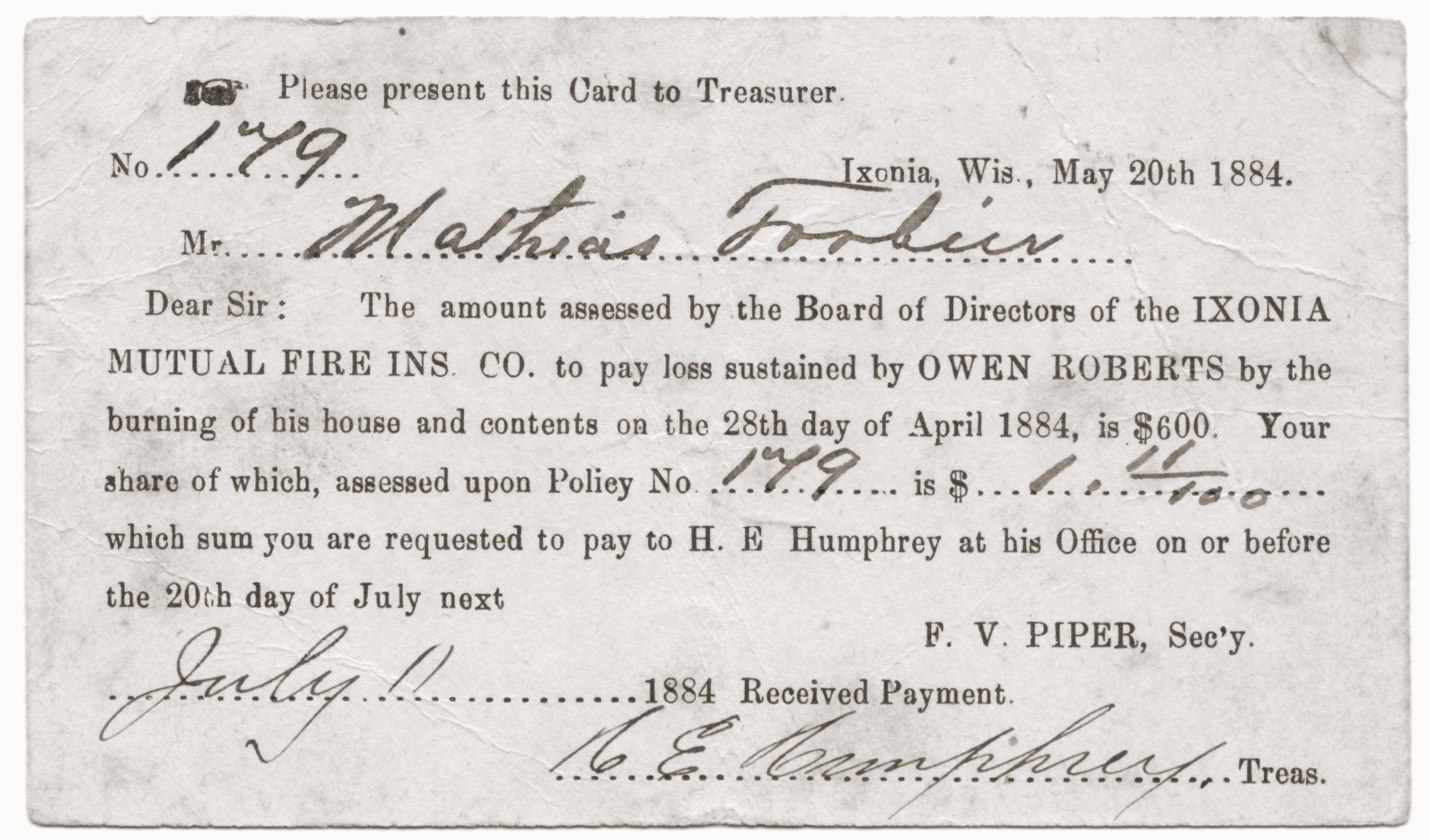 Assessment form for Ixonia Mutual Insurance Company, circa 1884
