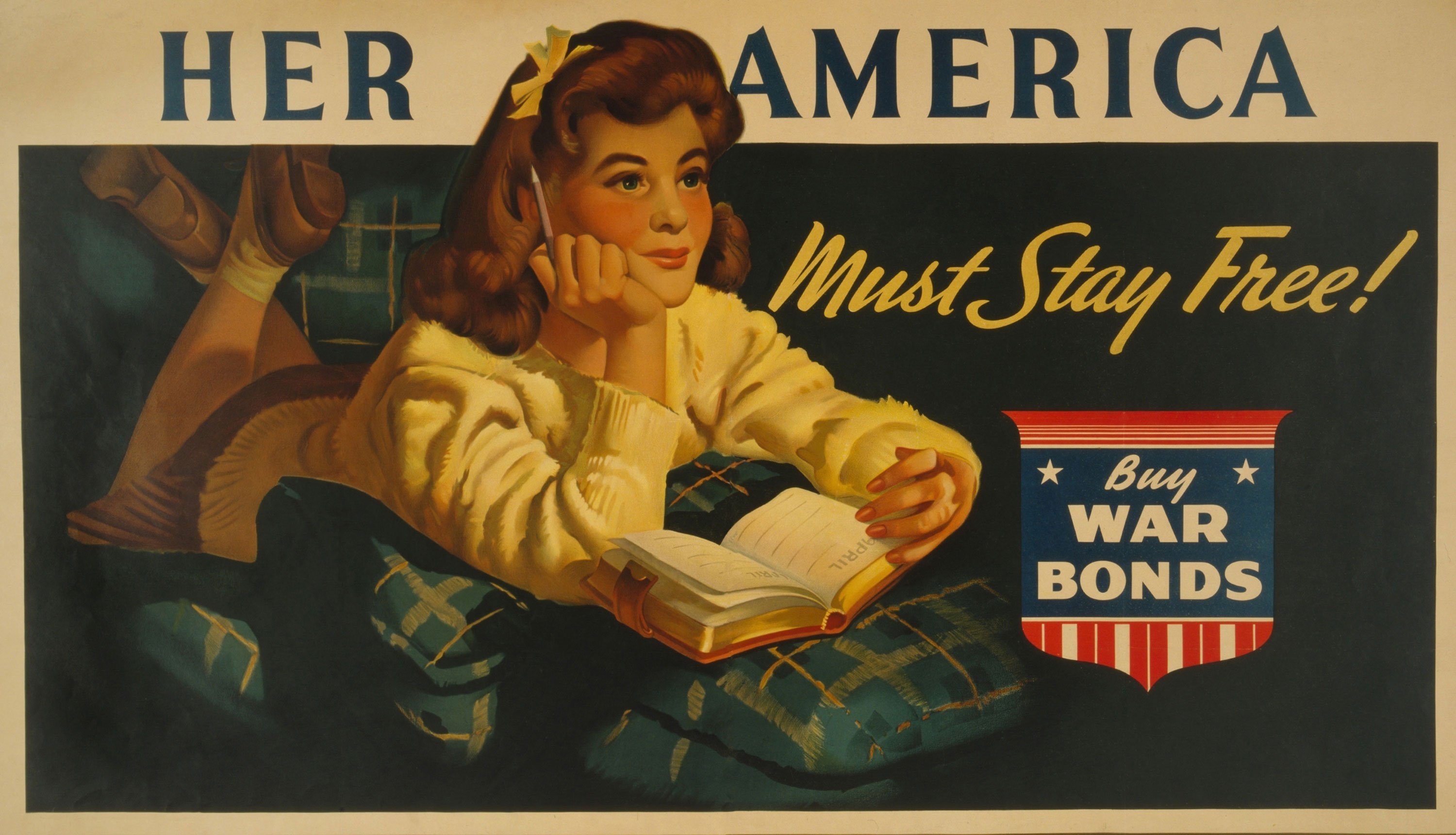Shutterstock illustration ID: 249573553 American WW2 poster. 'Her America must stay free! Buy war bonds,' reads a poster showing a daydreaming teenage girl about to write in her diary. Ca. 1943. Used with permission.