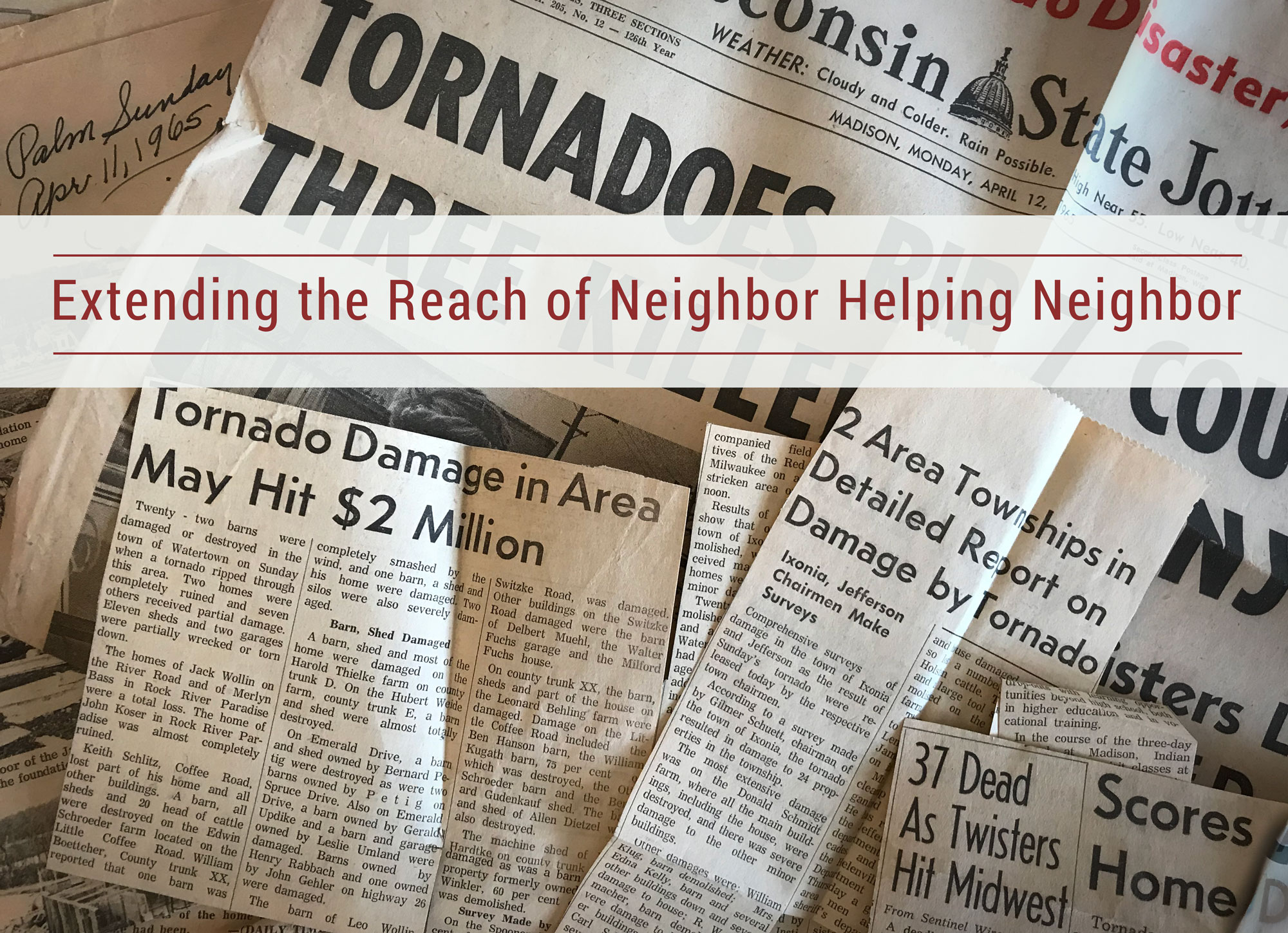Newspaper clippings of 1965 Palm Sunday Tornado, Forward Mutual Insurance Company